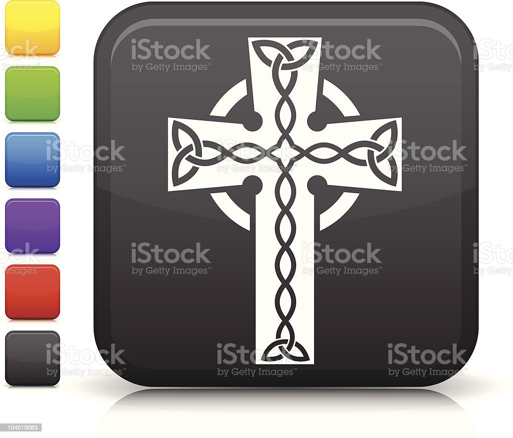 Celtic cross icon on square button royalty-free stock vector art