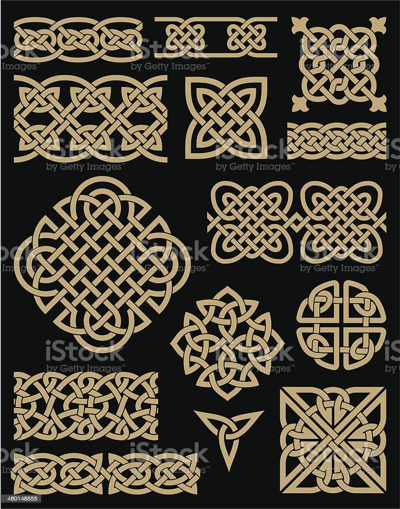 Celtic Design Elements Set vector art illustration