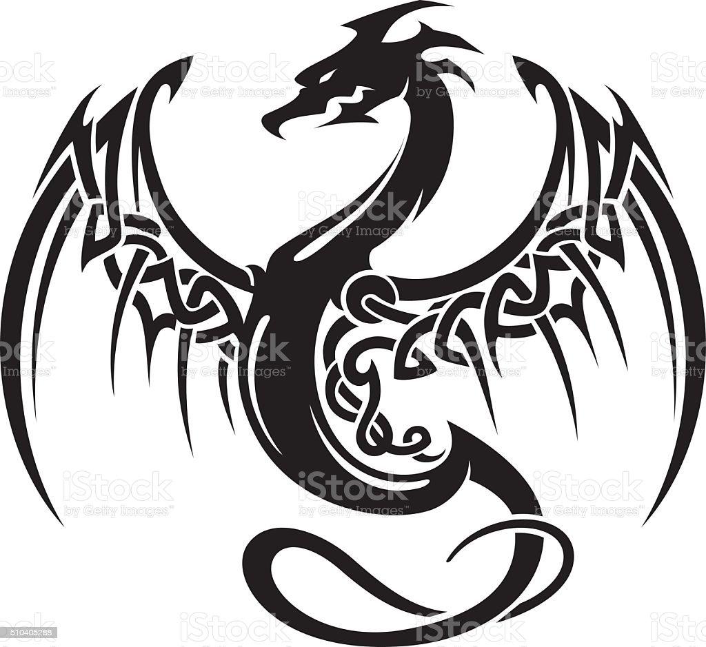 Celtic Dragon Insignia vector art illustration