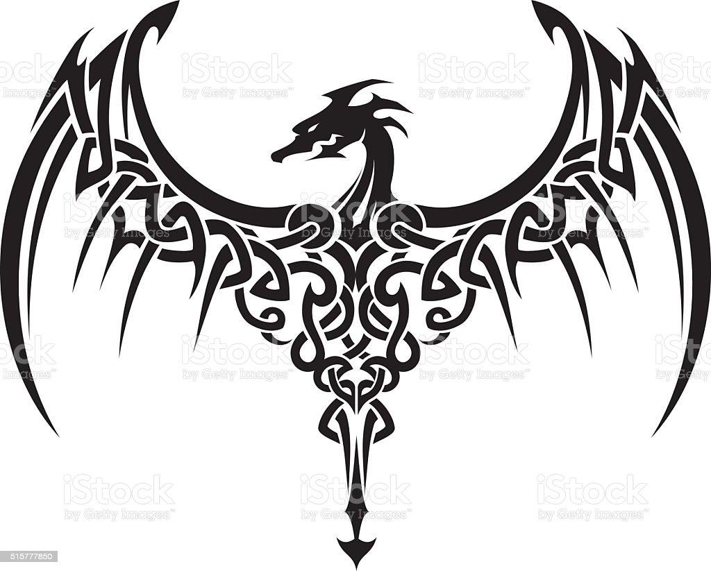 Celtic Dragon Wings Tattoo vector art illustration