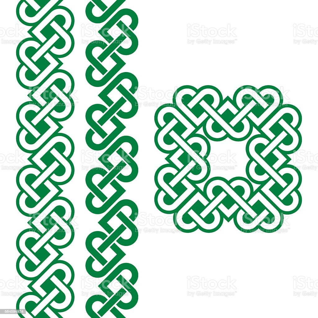 Celtic green Irish knots, braids and patterns vector art illustration