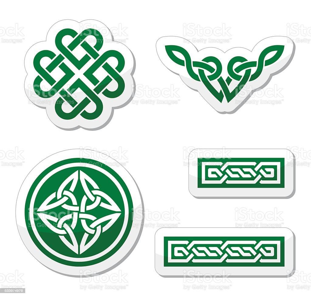 Celtic green knots, braids and patterns - vector vector art illustration
