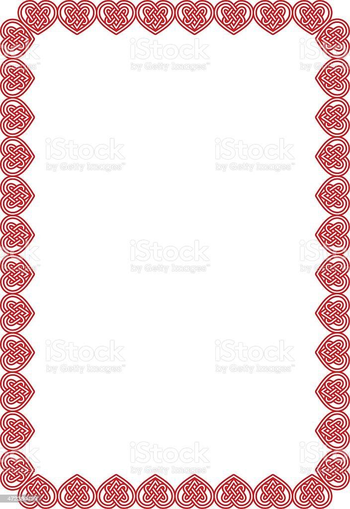 Celtic Hearts Border vector art illustration