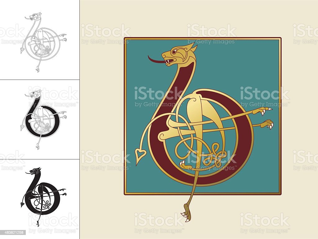 Celtic initial: letter B with animal and endless knots vector art illustration