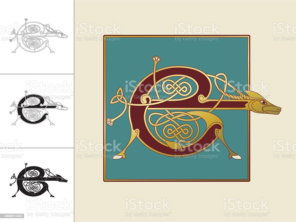 Celtic initial: letter E with animal and endless knots vector art illustration