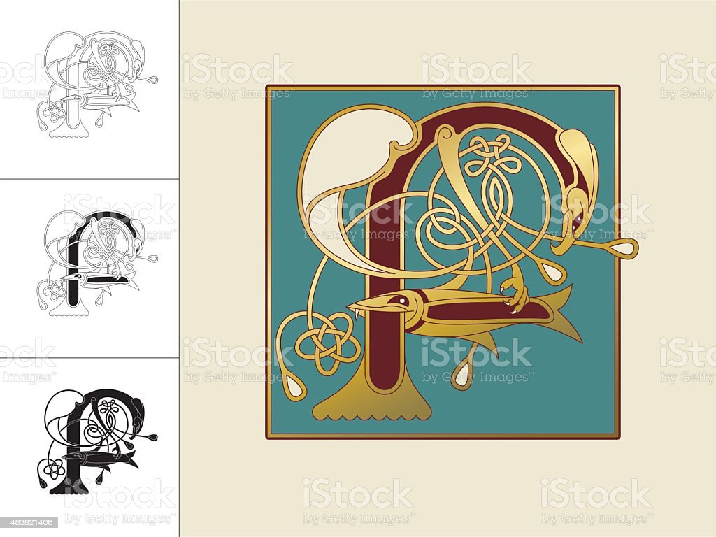 Celtic initial: letter F with animal and endless knots vector art illustration