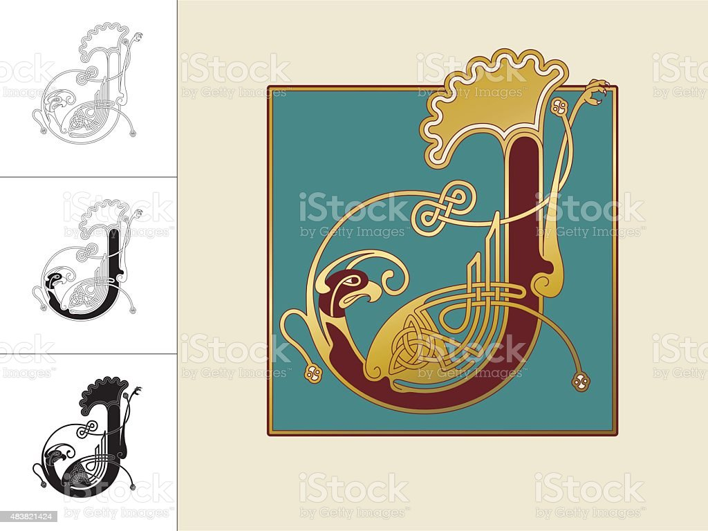 Celtic initial: letter J with animal and endless knots vector art illustration