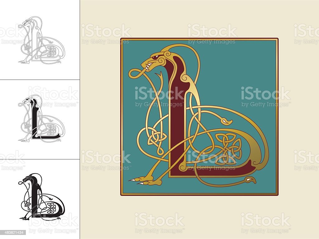 Celtic initial: letter L with animal and endless knots vector art illustration