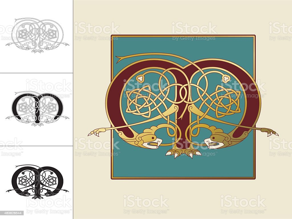 Celtic initial: letter M with animal and endless knots vector art illustration