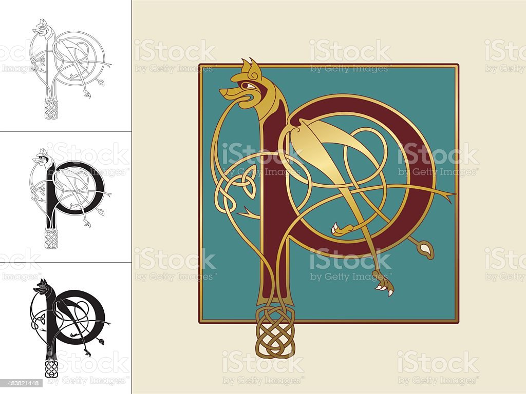 Celtic initial: letter P with animal and endless knots vector art illustration
