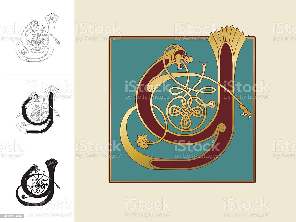 Celtic initial: letter Y with animal and endless knots vector art illustration