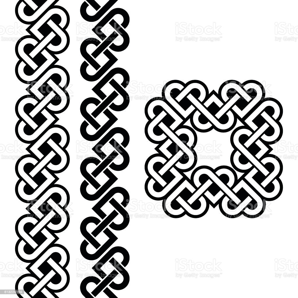 Celtic Irish knots, braids and patterns vector art illustration