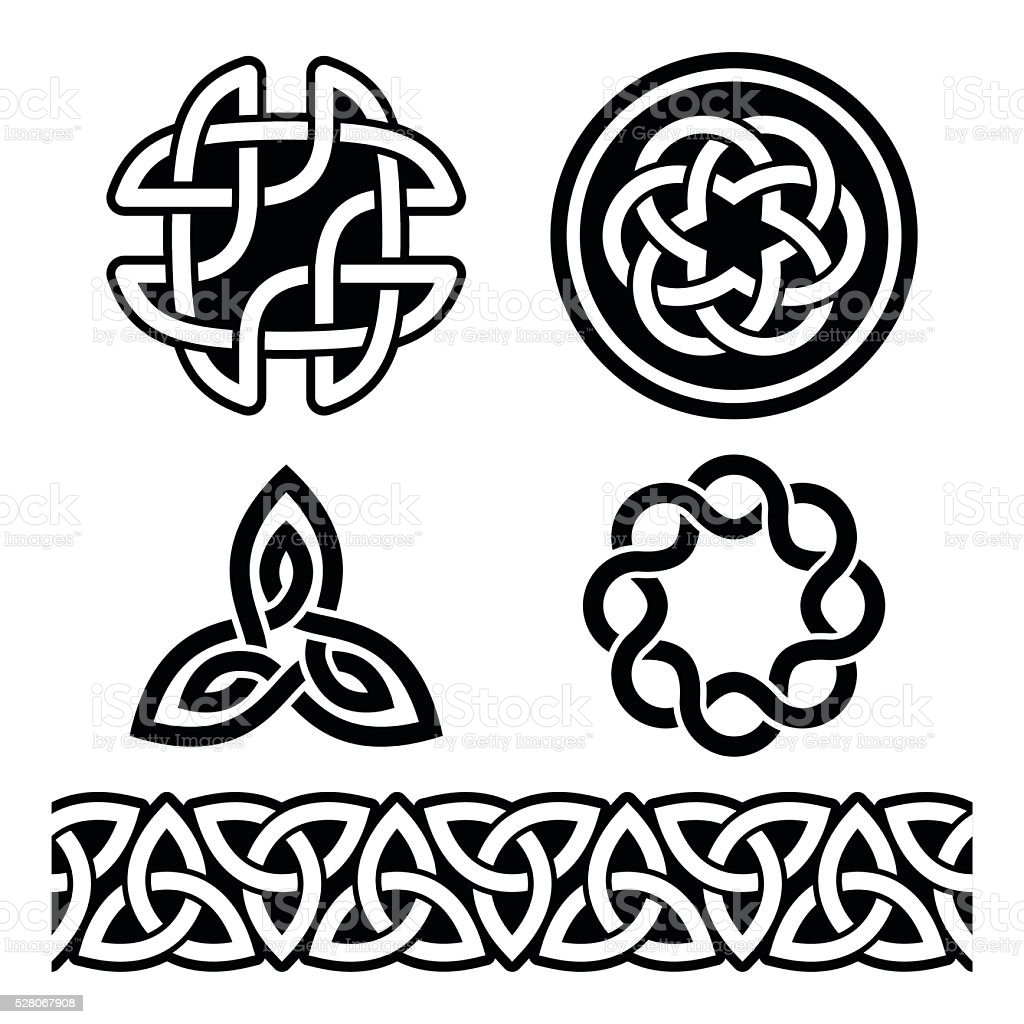 Celtic Irish patterns and knots - vector, St Patrick's Day vector art illustration