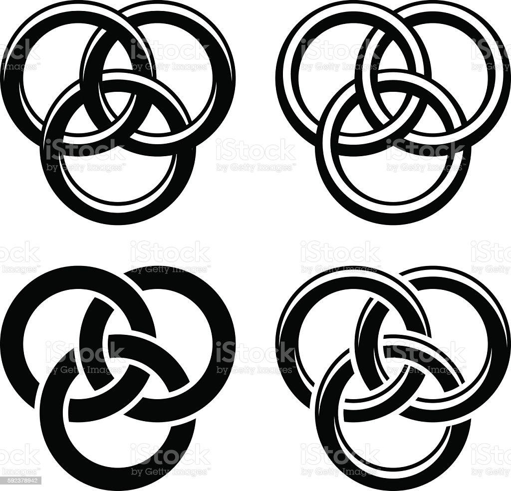 Celtic knot black white symbols vector art illustration