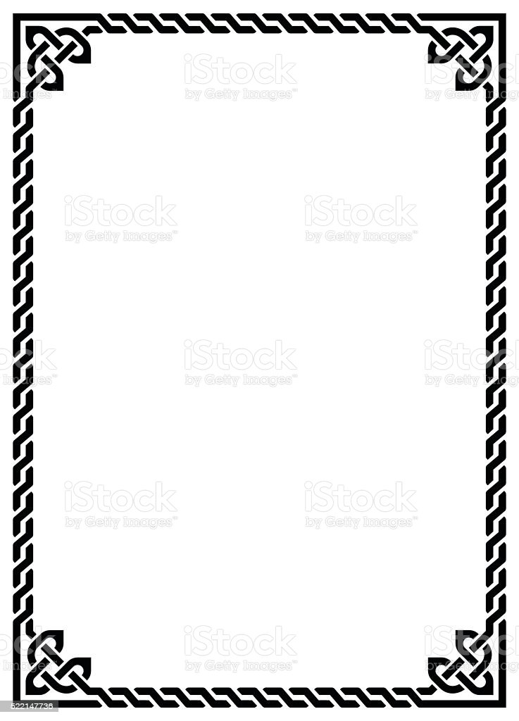 Celtic knot braided frame - rectangle vector art illustration