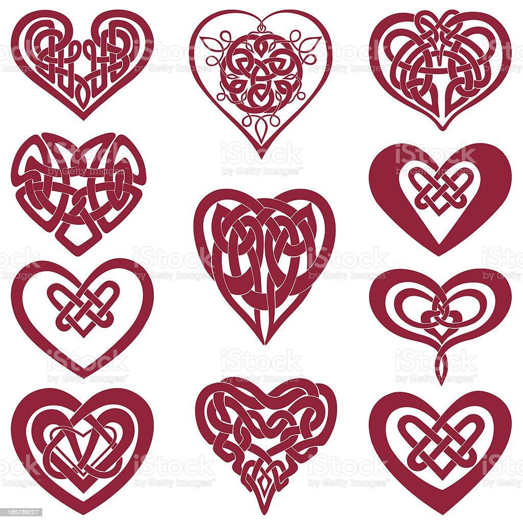 Celtic knot hearts vector art illustration