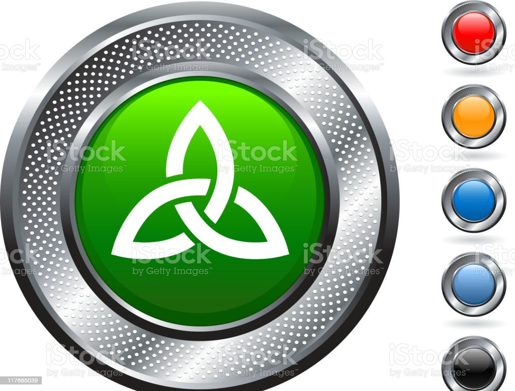 Celtic knot royalty free vector art on metallic button royalty-free stock vector art