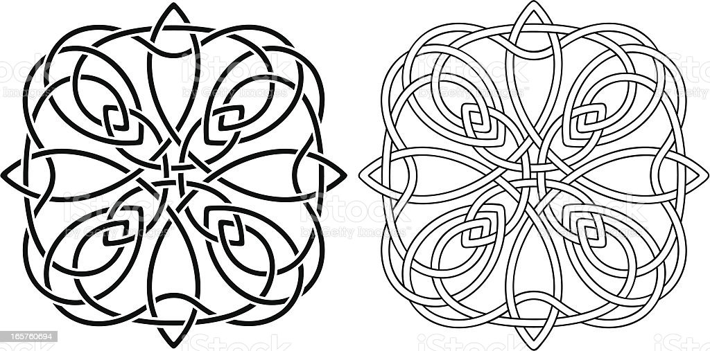 Celtic Knots- Stencil and Outline royalty-free stock vector art