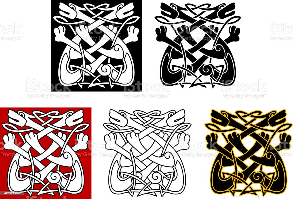 Celtic ornament with dogs and wolves royalty-free stock vector art