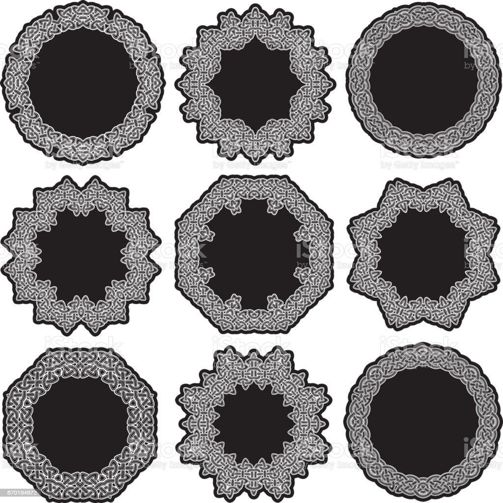 Celtic ornamental circles vector art illustration