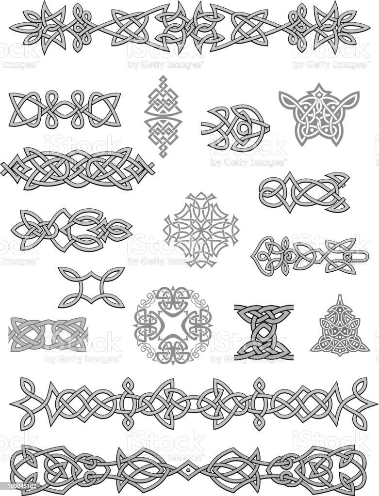 Celtic ornaments and embellishments vector art illustration