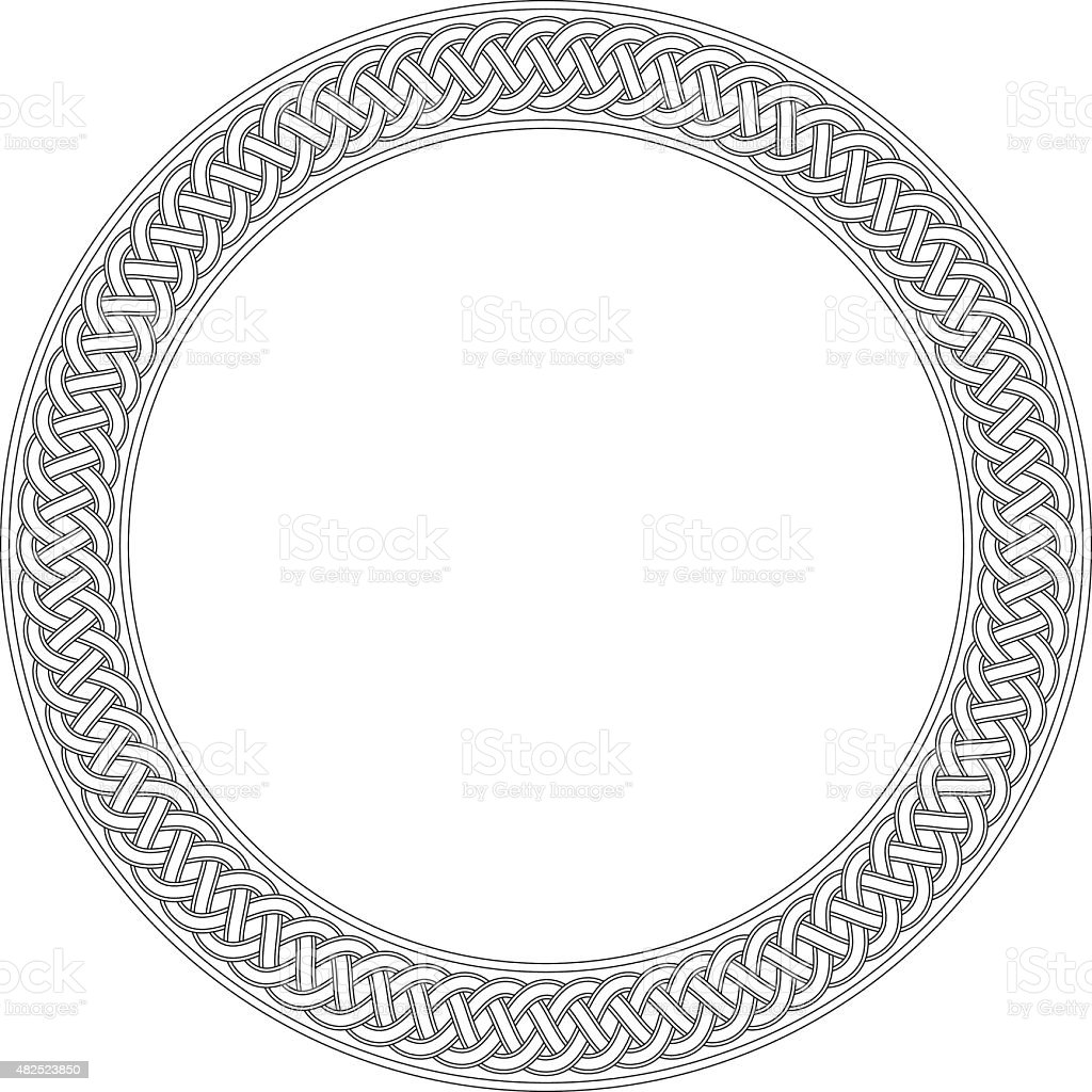 Celtic ring with endless knot (drawing) vector art illustration
