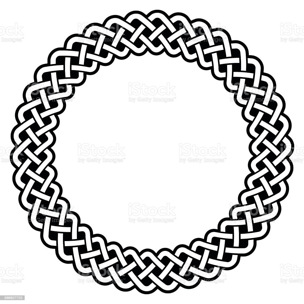Celtic round frame, border pattern - vector vector art illustration