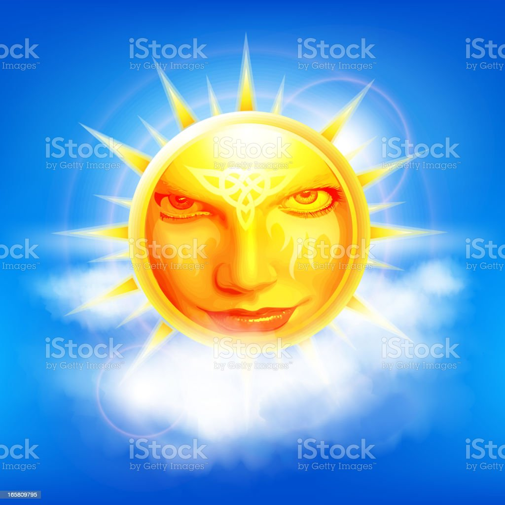 Celtic sun face royalty-free stock vector art