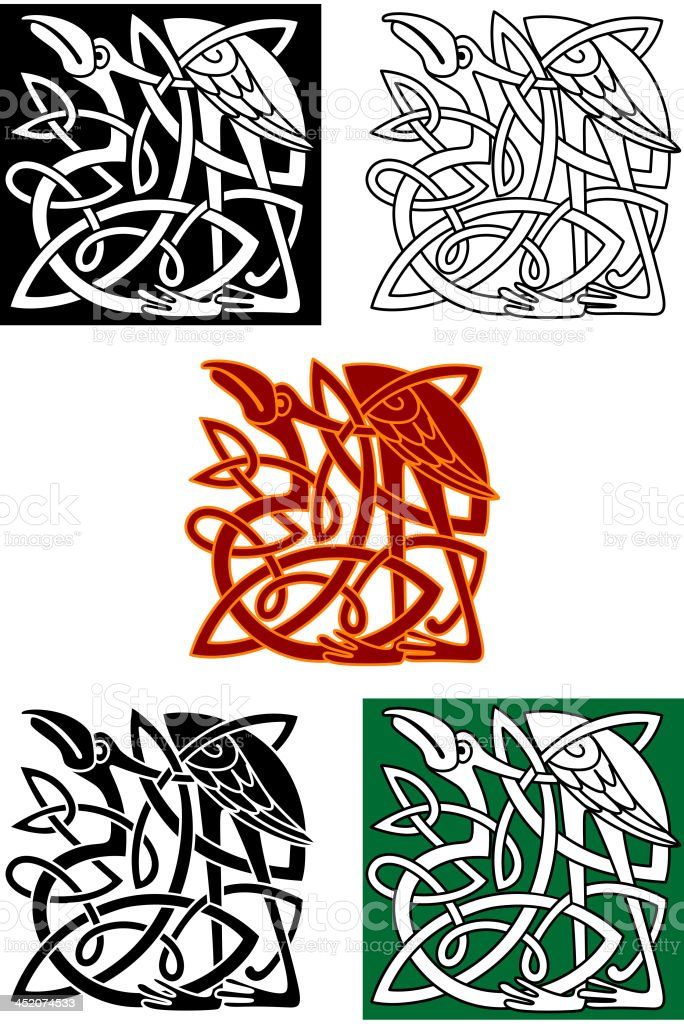 Celtic totems with birds royalty-free stock vector art