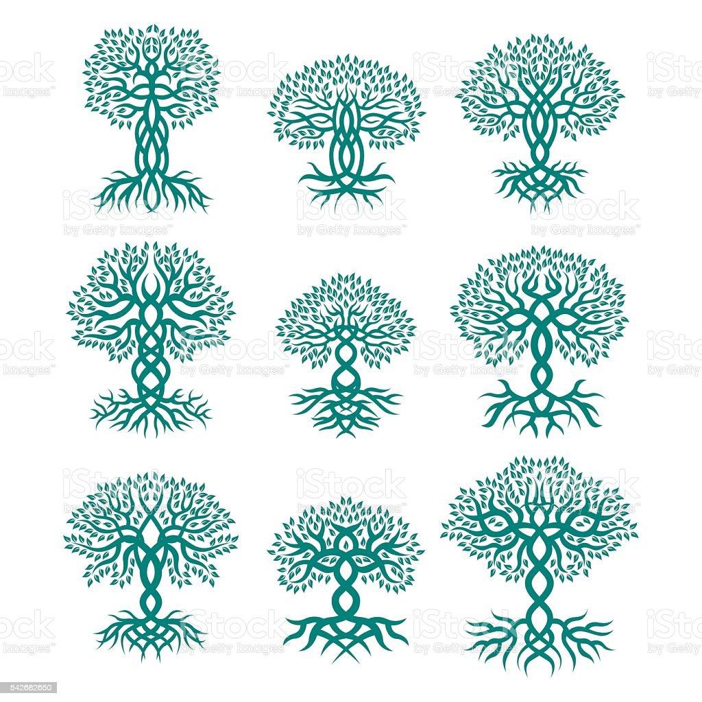 Celtic tree logos vector art illustration