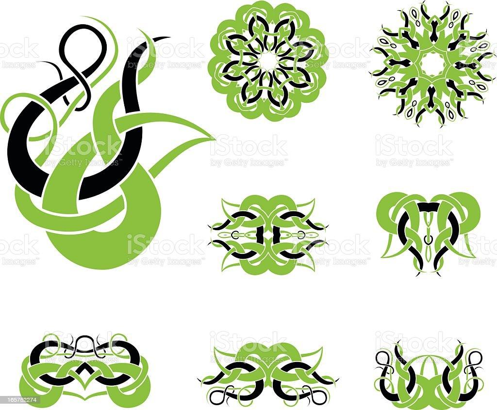 Celtic tribal knotworks set vector art illustration
