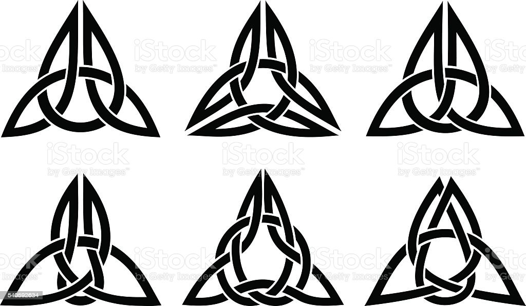 celtic trinity knot set vector art illustration