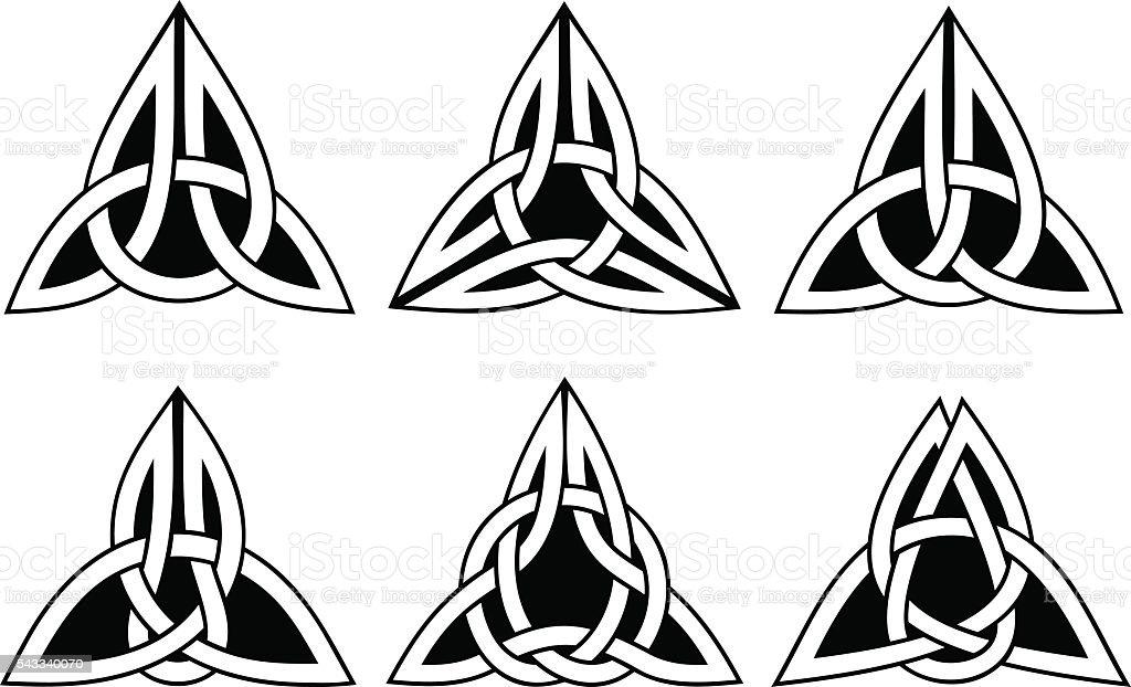 celtic trinity knot set vector art illustration