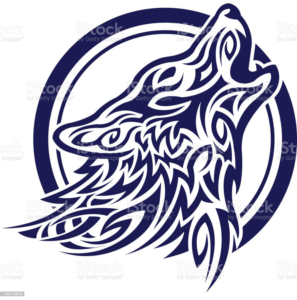 Celtic wolf tatoo stock photo