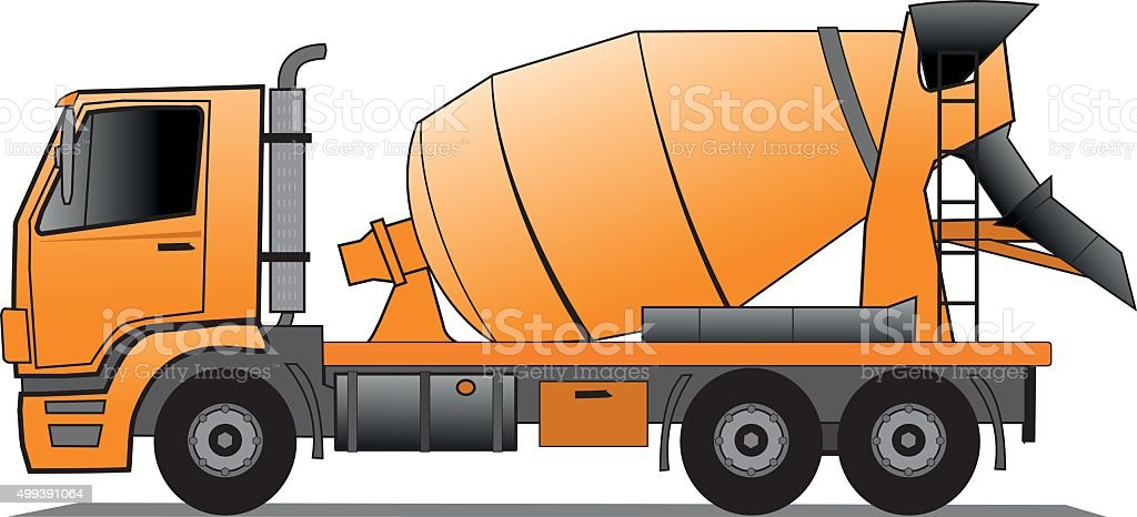 Cement mixer truck vector art illustration