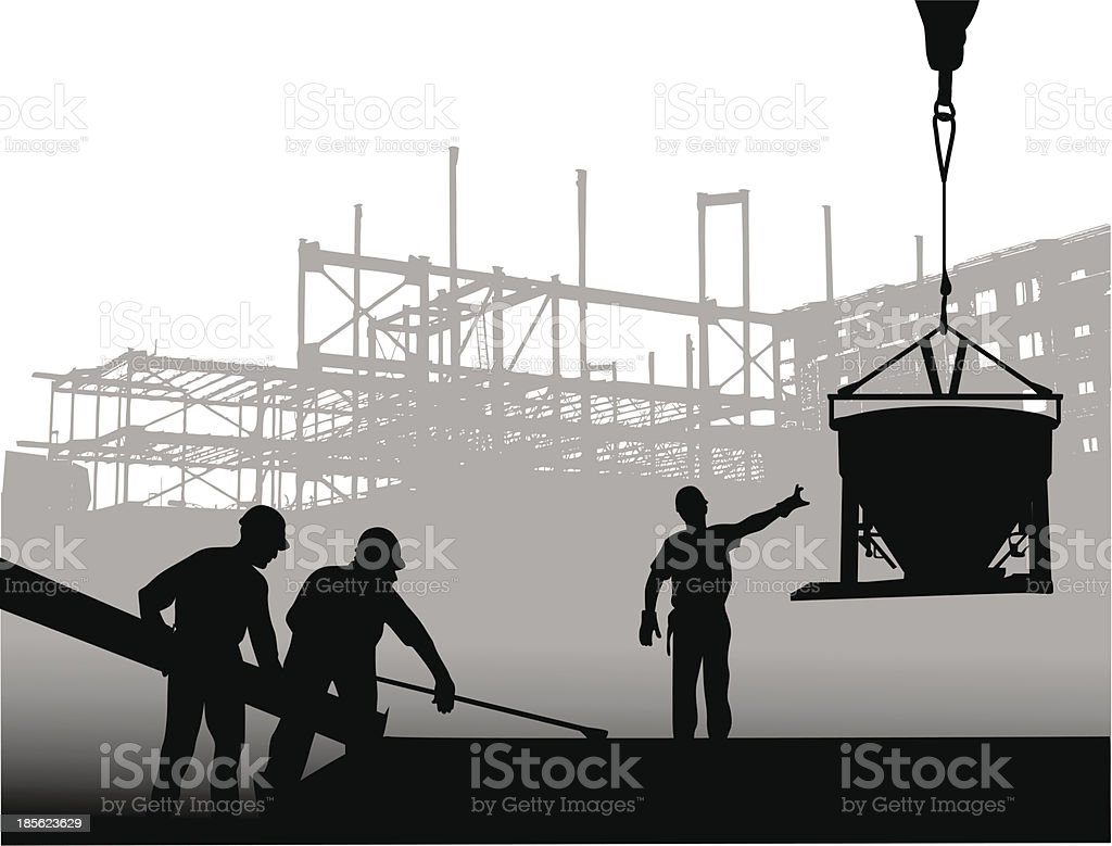 Cement Pouring vector art illustration