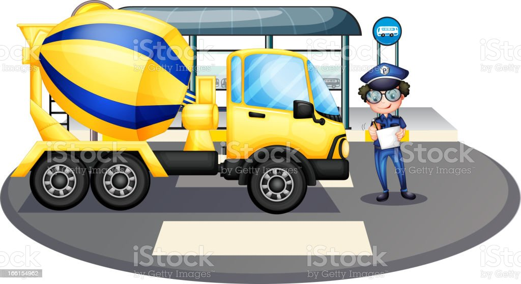 Cement truck inspected by the policeman royalty-free stock vector art