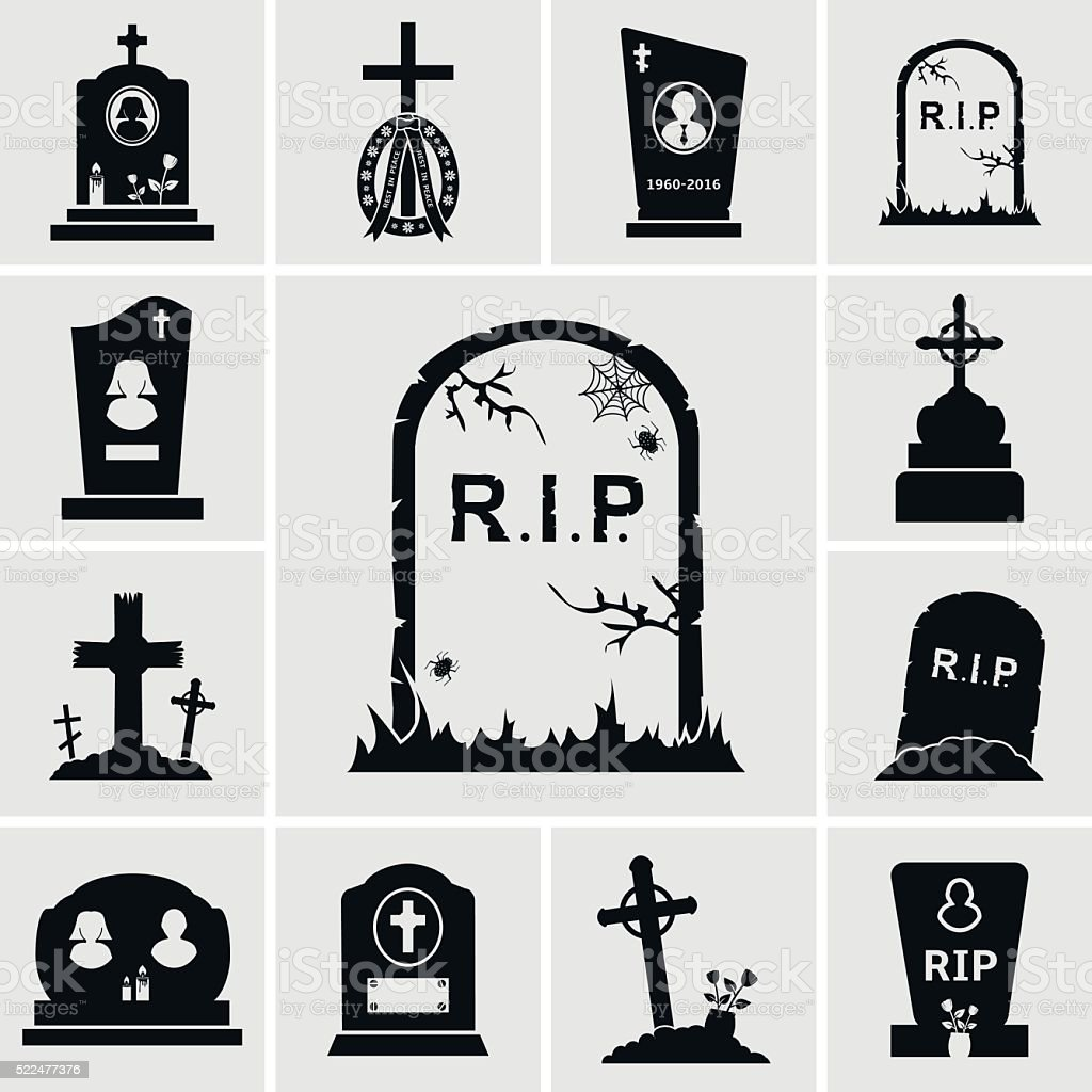 Cemetery crosses and gravestones icons set vector art illustration