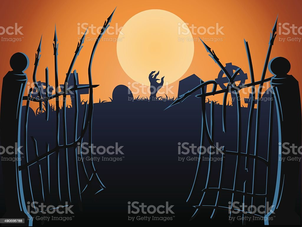 Cemetery gates vector art illustration