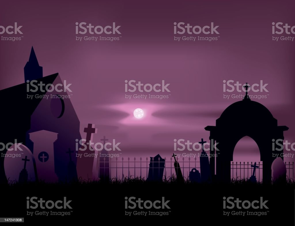 cemetery - graves vector art illustration