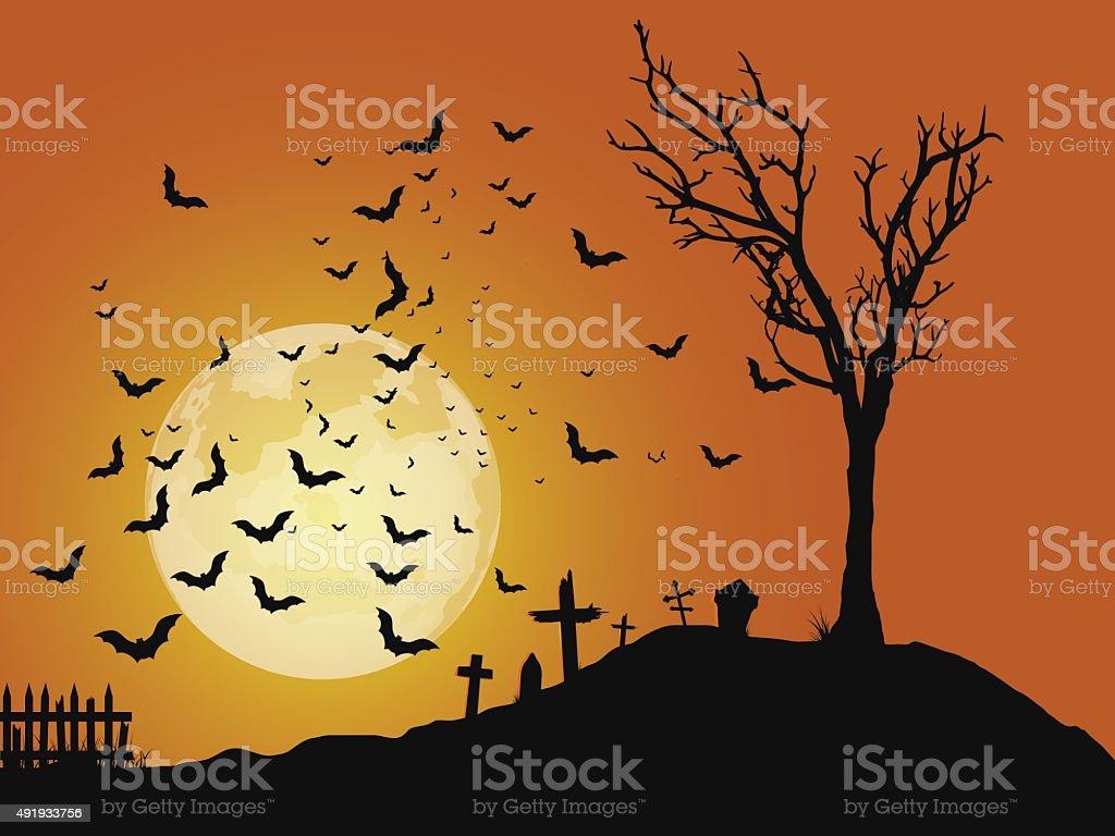 Cemetery vector art illustration