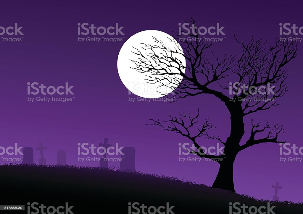 Cemetery vector art illustration