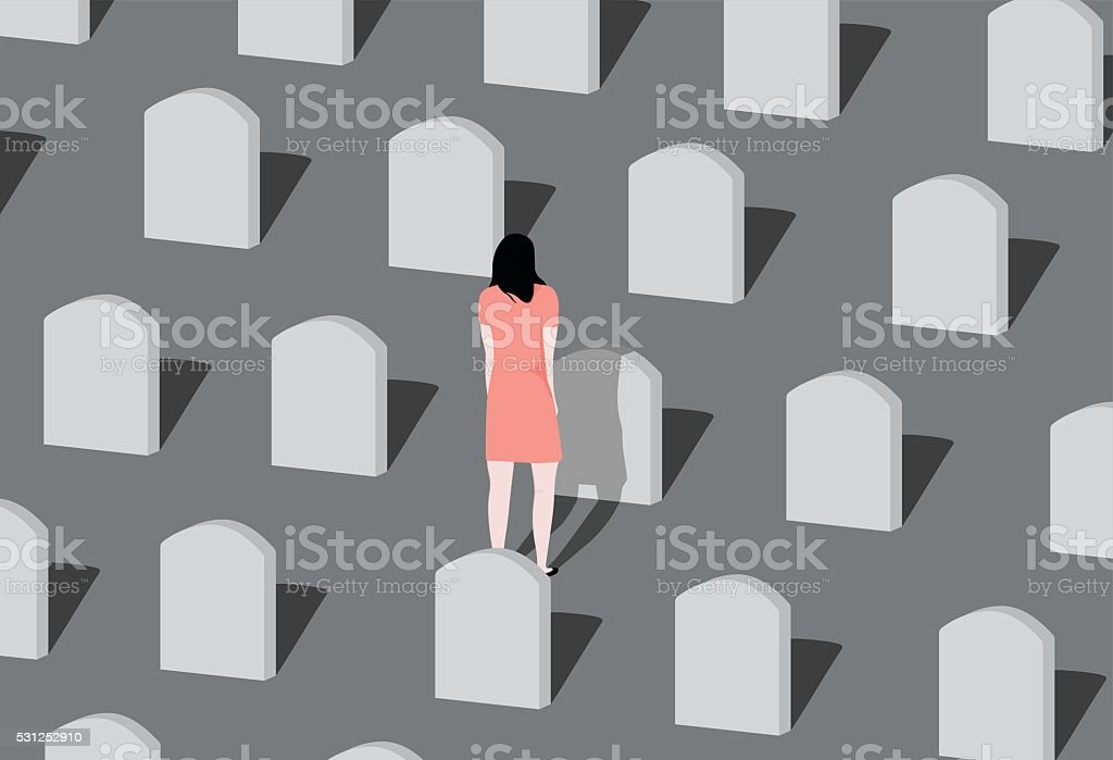 Cemetery. vector art illustration