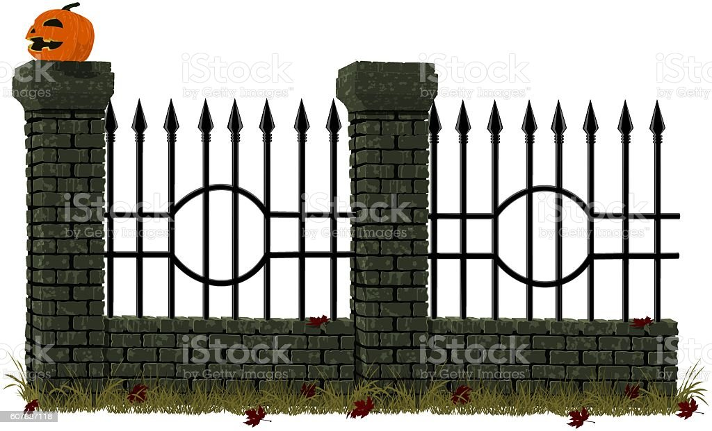Cemetery wall vector art illustration