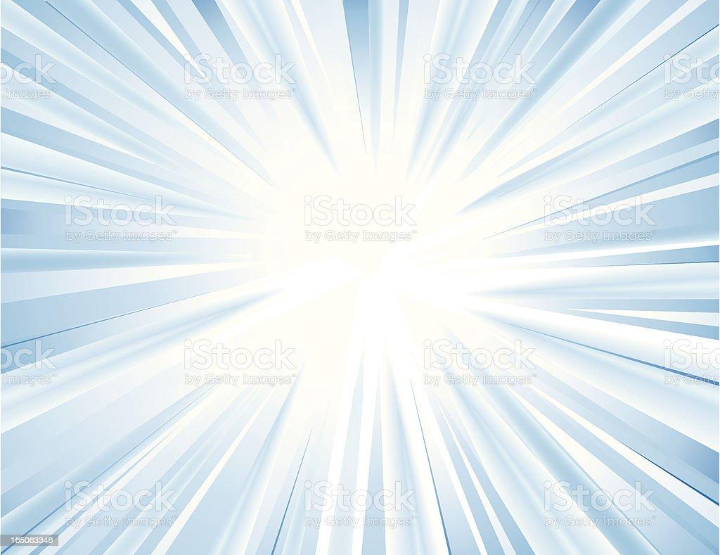Center image of light pulsing, with white strands vector art illustration