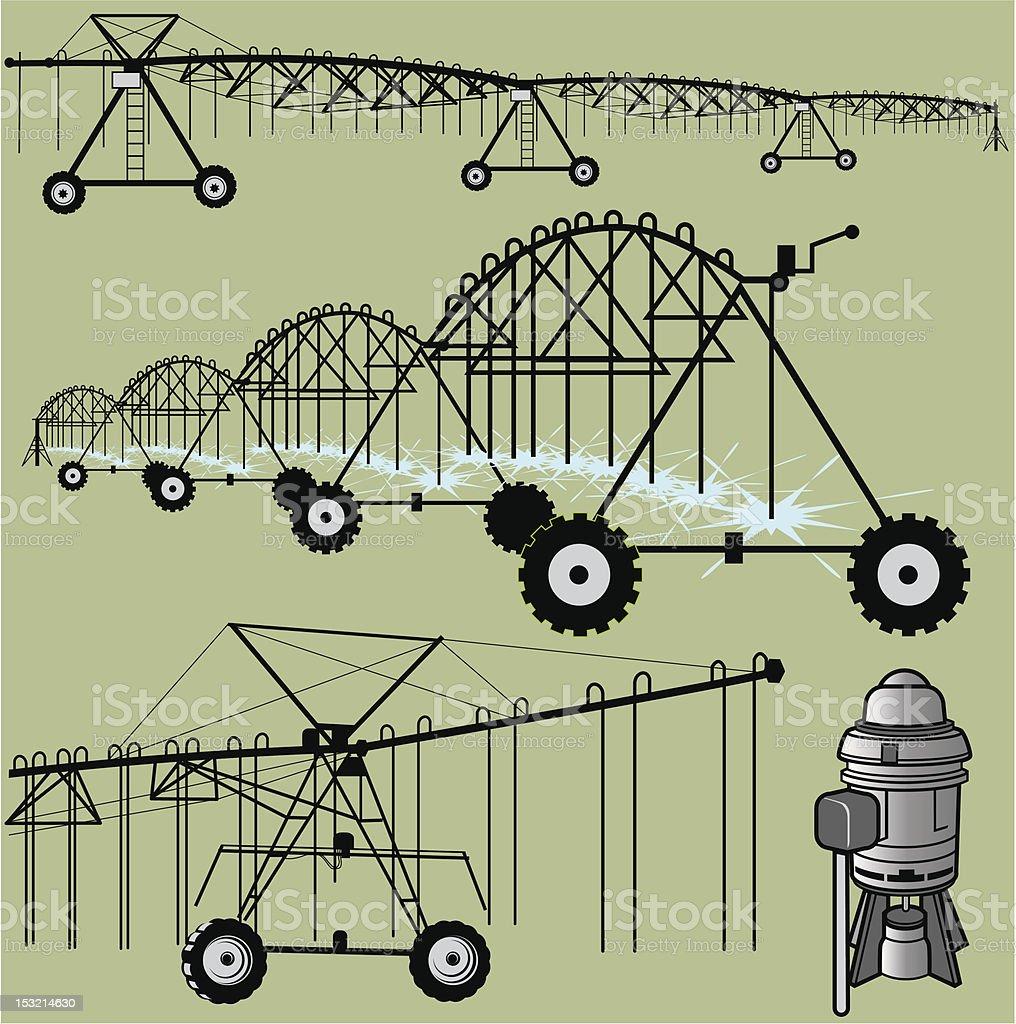 Center Pivot Irrigation vector art illustration