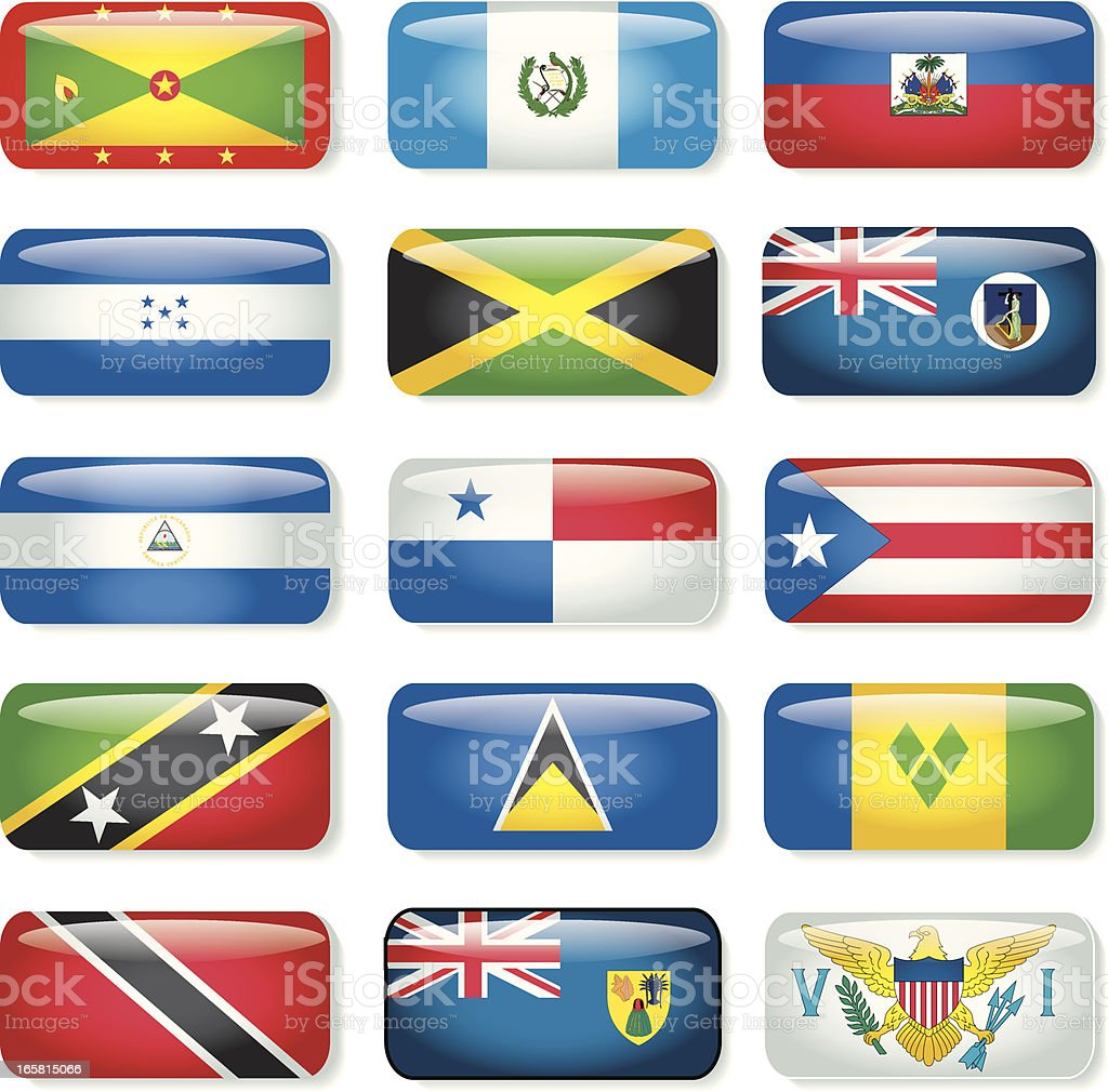 Central America & Caribbean Rectangular Flags (B) royalty-free stock vector art