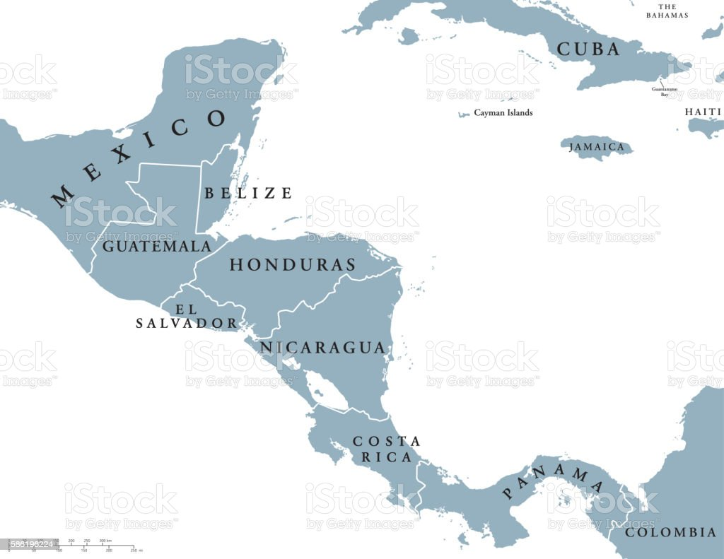 Central America countries political map vector art illustration