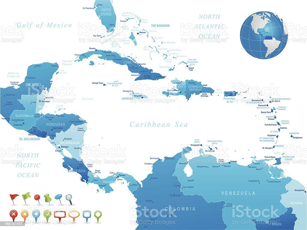 Central America - highly detailed map royalty-free stock vector art