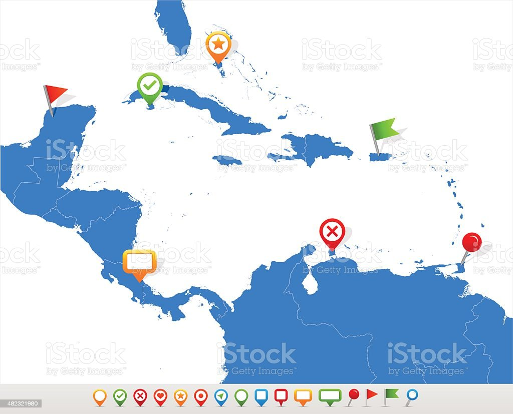 Central America map and navigation icons - Illustration vector art illustration